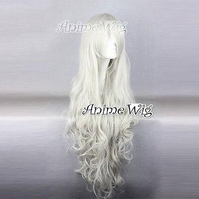 Angel Rosiel Kostüm Perücke Manga Voll gewellt Silver-weiß 90cm Lang - Lange Weiße Perücke Kostüm