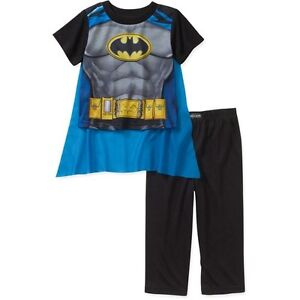 Boy DC Comics Superman Batman Pajama Sleepwear Shirt Pants Set Toddler Size 5T