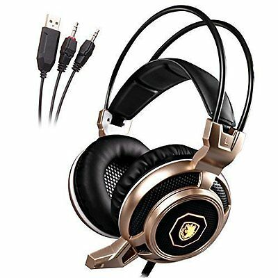 3.5mm Pc Gaming Headset Surround Sound Headband Headphones Over Ear Wired Stereo