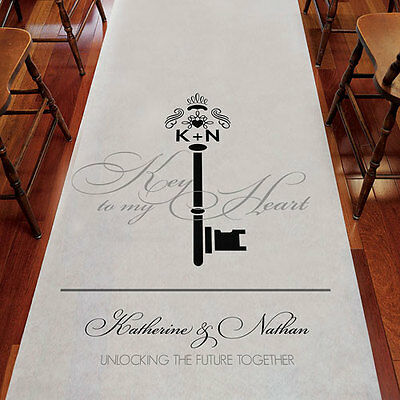 Key Monogram PERSONALIZED Aisle Runner Wedding Ceremony Decoration  - Personalized Wedding Aisle Runner