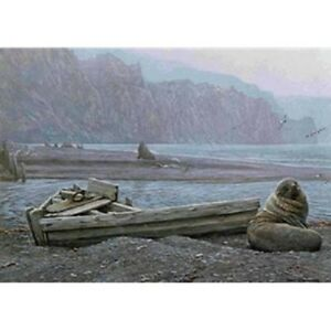 ROBERT BATEMAN - OLD WHALING BASE & FUR SEALS - FRAMED