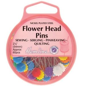 Hemline Flower Head Pins  Long Nickel Plated Great For Quilting