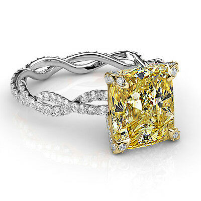 2.90 Ct Cushion Cut Diamond Twist Shank Canary Engagement Ring GIA 18K Eternity
