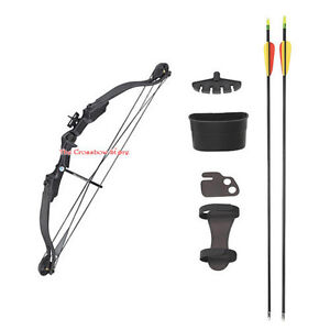 25-lbs-28-Black-Compound-Archery-Bow-Set-With-Arrows-Quiver