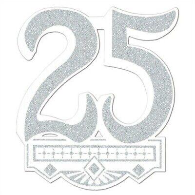 25th Anniversary Glittered Crest 14 Inch Anniversary Party Supplies Decorations (25th Anniversary Party Supplies)