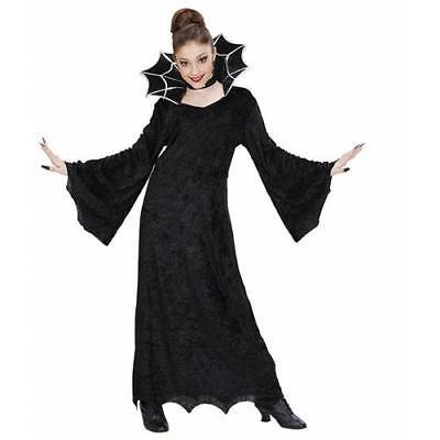 Kinderkostüm Hexe, Gr 140 Samtkleid mit großem Stehkragen u. Halsband - Band Hexe Kind Kostüm