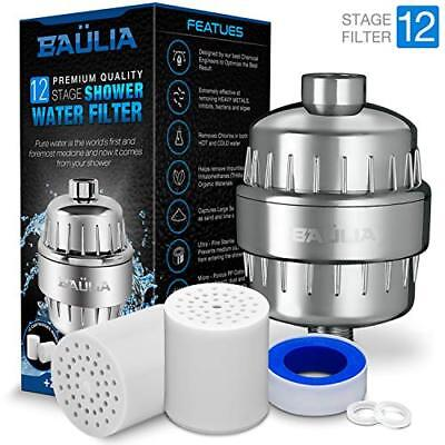 Baulia SF807 12-Stage Shower Water Filter - Includes 2 Cartridge Filters, Chrome