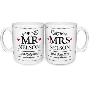 Personalised Mr and Mrs Mugs Gift Set - Bride & Groom Wedding or Anniversary