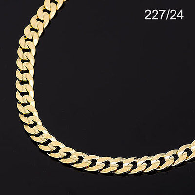 Men's 14K Yellow Gold Plated 24 Inches Cuban Link Chain Necklace 7.5 mm,  227/24