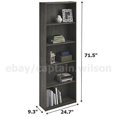 Bookcase 5 Shelf Gray Rodeo Oak Bookshelf Adjustable Shelving Book