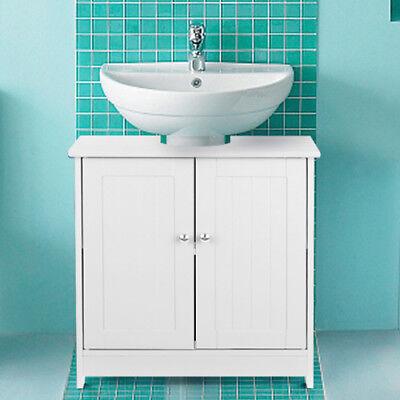 White Pedestal Under Sink Storage Bath Vanity Cabinet 3 Shel