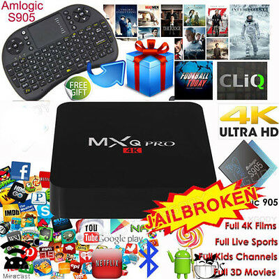 MXQ PRO Quad Core Android TV Box Fully Loaded APP Media Player HD 4K+Keyboard