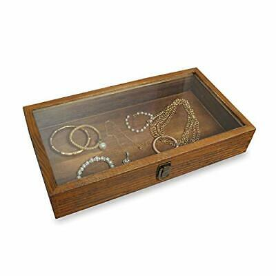 Wood Glass Top Jewelry Display Case Accessories Storage Wooden Jewelry Brown