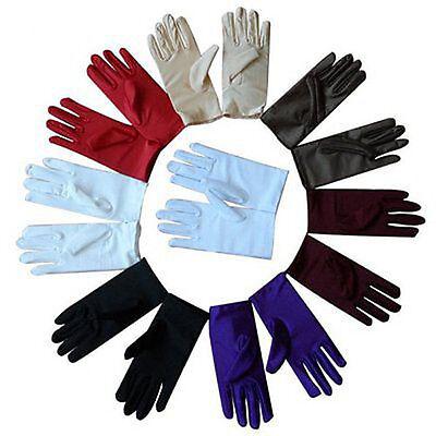 Satin Evening Gloves (Women Evening Dressing Prom Driving Wrist Short Finger Satin Party Bride)