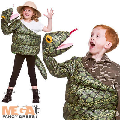 Snake Girl Costume (Wrapped Snake Kids Fancy Dress Animal Boys Girls Childrens Halloween Costume)