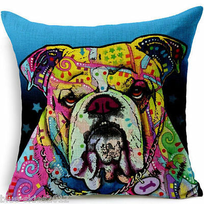 Saggy BRITISH BULLDOG English Bright Colours DOG LINEN-COTTON CUSHION COVER UK