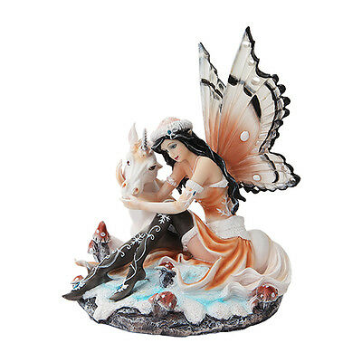 Winter Snow Fairy Playing w Unicorn Figurine Statue Faery Collection Mystical