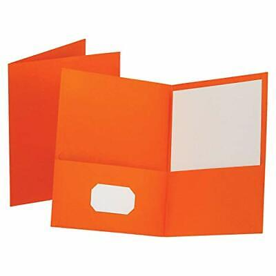 Oxford Twin-pocket Folders Textured Paper Letter Size Orange Holds 100 Sheet