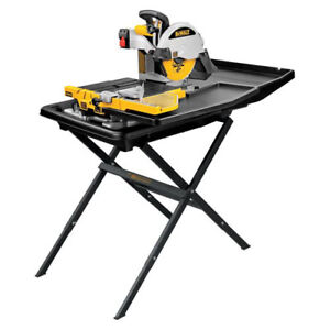 Dewalt 10 Inch Wet Tile Saw With Stand Stainless Steel Rail System D24000s New