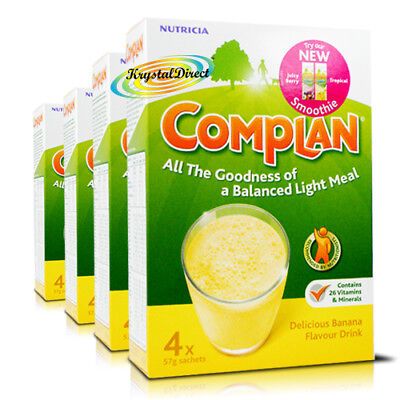 4x Complan Banana Nutrition Vitamin Supplement Protein Energy Drink 4x55g