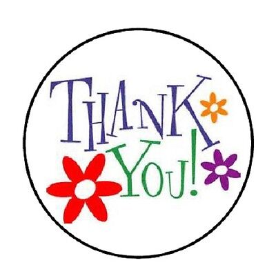 48 Thank You With Flowers     Envelope Seals Labels Stickers 1 2  Round