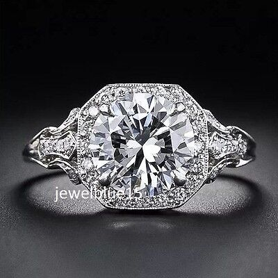 Luxury+3ct+Moissanite+Antique+art+Engagement+Round+Cut+Solitaire+925+silver+Ring