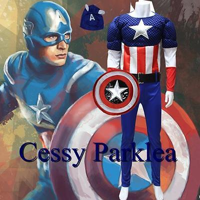 America Boot Covers (Deluxe Muscle Captain America Adult Costume + Mask Boot-Covers Shield S-XL )