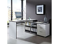 NEW White Arctic/Alantra Home Office Corner Computer Desk (Made in Germany)