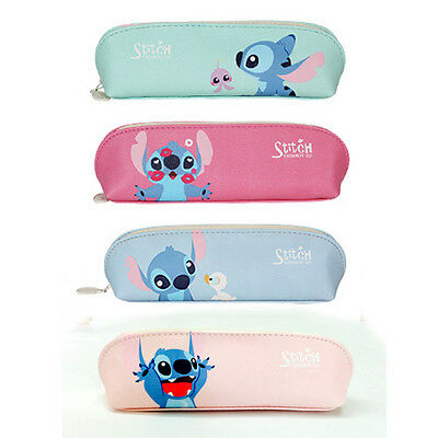 1x BNWT So Cute Stitch PU Faux Leather Pencil Case Pen Bag Organizer Lilo&Stitch