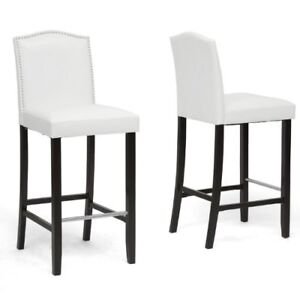 4 Modern Bar Stool with Nail Head Trim in White