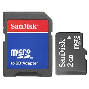 SanDisk 2GB Micro SD Flash Memory Card MicroSD TF 2 G GB 2G  W/Adapter New