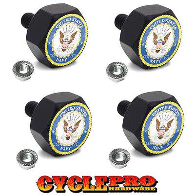 4 Black Billet Hex License Plate Frame Tag Bolts USN NAVY - 003