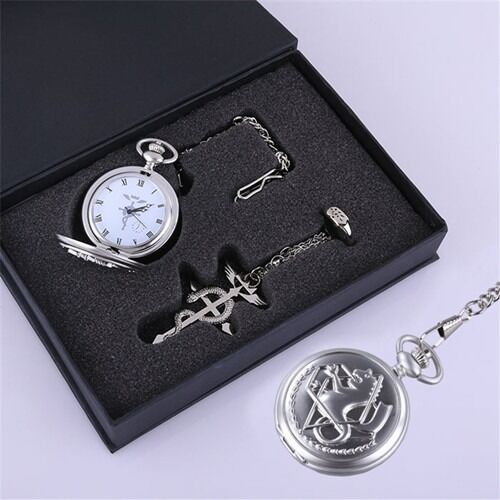 Anime Fullmetal Alchemist Pocket Watch Necklace Ring Set Edward Elric Cosplay
