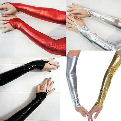 Glam Arm Warmer Goth Wet Look Shiny Metallic Fingerless Gloves Clubwear - Metallic Gloves