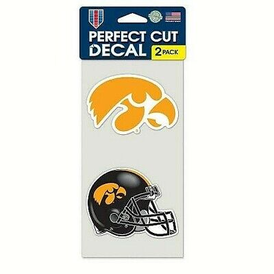 Iowa Decal Set (Iowa Hawkeyes Set of 2 Perfect Cut NCAA Decals / Stickers *Free Shipping )