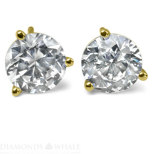 1.3 Ct Round Stud Diamond Earrings Si1/d 18k Yellow Gold Engagement, Enhanced
