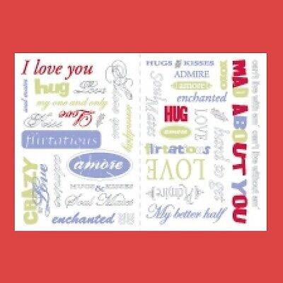 MAKING MEMORIES Rub-On Transfers 34 pcs WORDAGE LOVE 2 sheets Colored