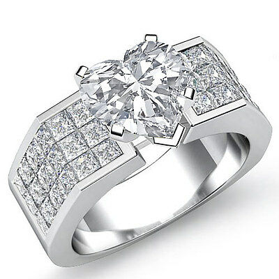 Heart Diamond Engagement Invisible Set Ring GIA Certified I Color VS2 2.54Ct
