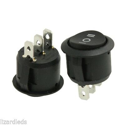 2x 3-position Onoffon Round Rocker Switch Circular Black Carmotorcycleboat
