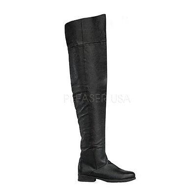 Thigh High Pirate Boots (Funtasma Maverick Pirate Thigh High Boots Black Pig Leather 8 9 10 11 12 13)