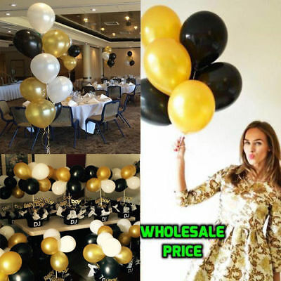 60 BLACK WHITE GOLD BIRTHDAY WEDDING PARTY BALLOONS DECORATIONS HELIUM BALLOON ](Black White And Gold Wedding Decorations)