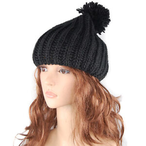 Retro-Oversized-Slouch-Ladies-Warm-Stretch-Beanie-Bobble-Hat-Knitted-Winter-New
