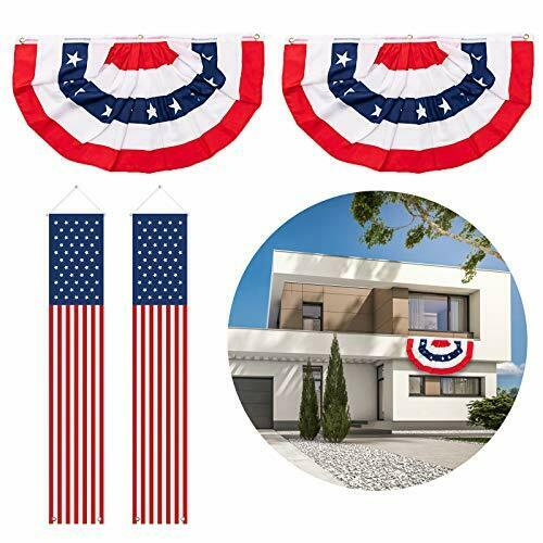 4th of July Decorations Patriotic American Bunting Banner USA Pleated Fan Flag