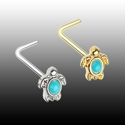 Golden Turquoise Sea Turtle L-Shaped Nose Ring Reptile Shell Sexy Jewelry (Sea Animal Shape)