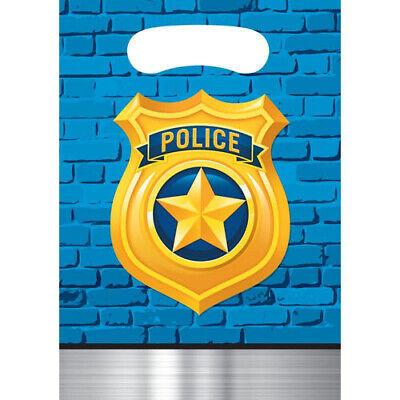 Happy Birthday Treat Bags - HAPPY BIRTHDAY Police Party FAVOR BAGS (8) ~ Supplies Plastic Treat Loot Goody