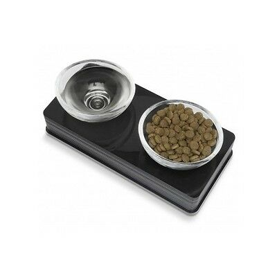 Catit Food Dish - Modern Pet Glass Dishes Dog Cat Food Water Black Raised Feeder Decor Free Ship