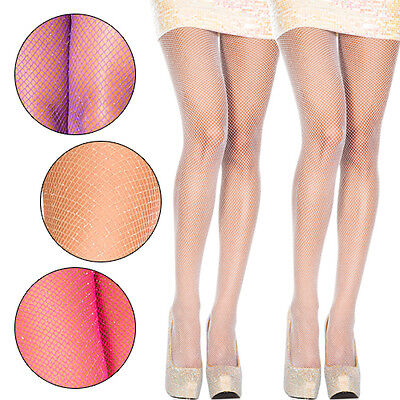 Silver Tights (1-4 PC Fishnet Net Glitter Sparkle Spandex Pantyhose Tights Shimmer Gold)