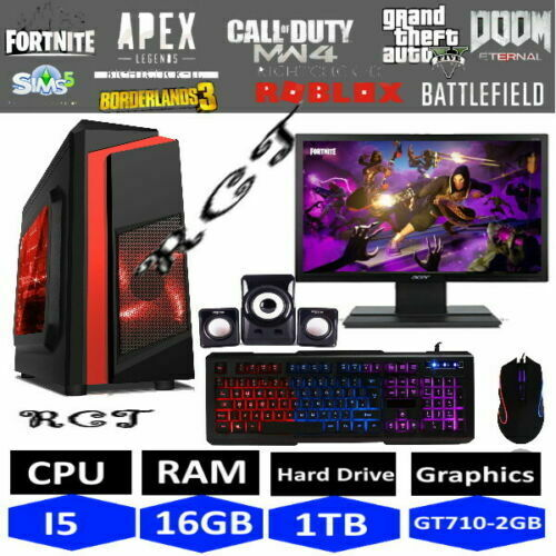 Computer Games - Fast Gaming PC Computer Bundle Monitor Quad Core i5 16GB 1TB Win 10 2GB GT710