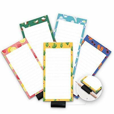5 Pack Magnetic Notepads for Fridge with Pen Holder, Full Magnet Back Notepad,
