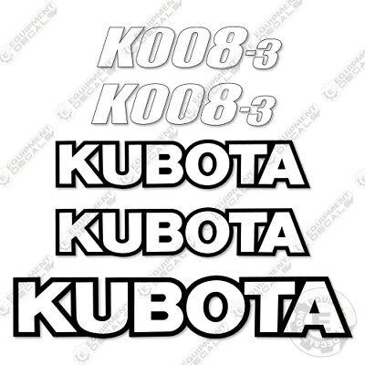 Kubota K008-3 Mini Excavator Decal Kit Equipment Decals